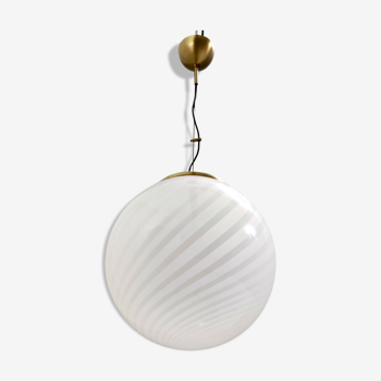 Adjustable Spheric Murano Glass and Brushed Brass Pendant by VeArt, Italy 1970s