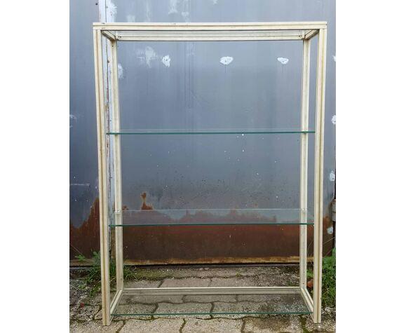 Étagère vitrée aluminium vintage 1970/80