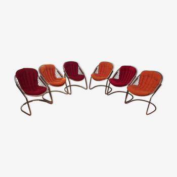 """Suite de 6 fauteuils """"Egg chair"""" de Gastone Rinaldi 1970"""