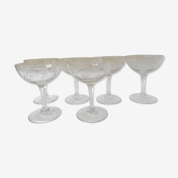 Lot de 6 coupes à champagne gravées