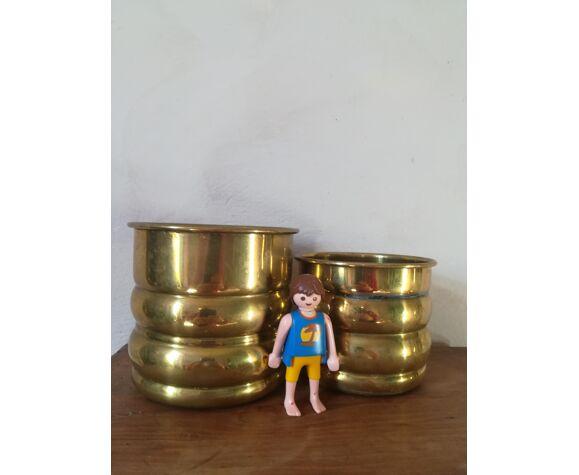 Duo de cache pots en laiton