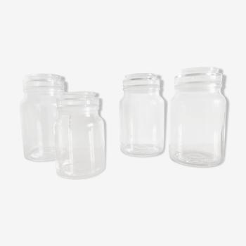 Lot de 4 bocaux en verre vintage