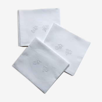 Set de 6 serviettes de table damassées du XIXème monogrammées FW