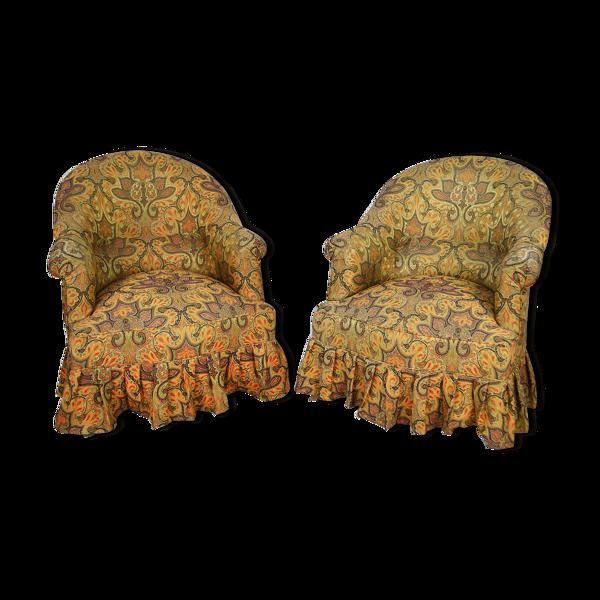 Paire de fauteuils crapauds tissu paisley