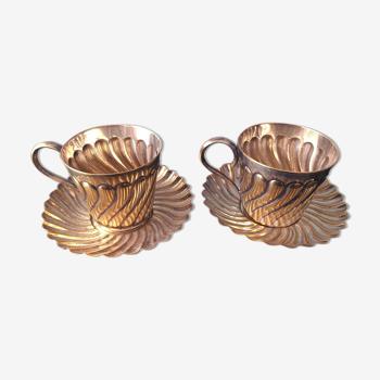 Set 2 tasses en métal argenté Vintage 1910