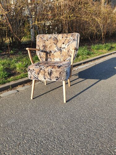 Vintage shell cocktail chair with armrests, 1960s