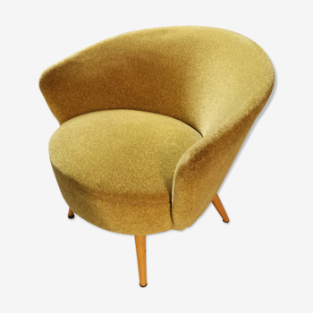 1/2 Coktail chair round modernist graphic velvet thick yellow