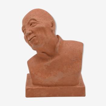 """Gaston hauchecorne sculpture buste terre cuite """"penseur chinois"""" art déco 1930"""