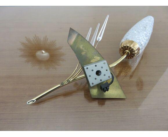 Paire d'appliques asymétriques en laiton, verre et perspex années 50 60