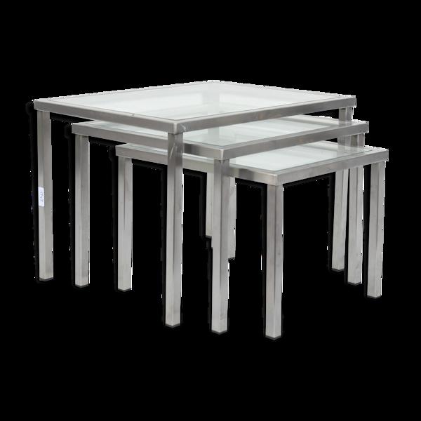 3 tables gigognes en métal chromé