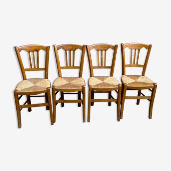 Lot de 4 chaises bois paillees