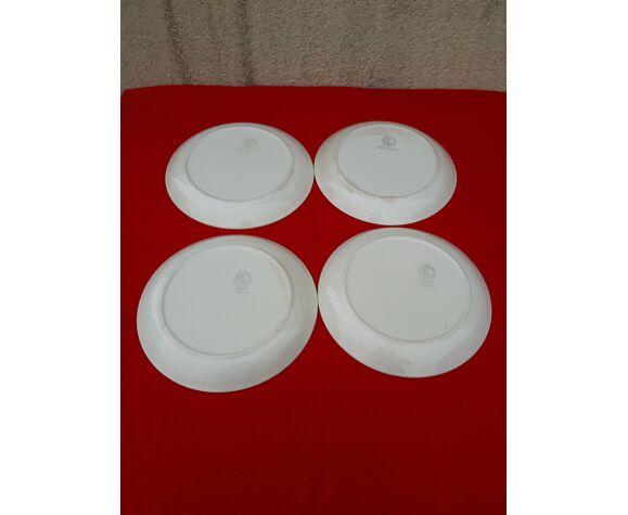 4 assiettes plates en faïence moulin des loups  orchies modèle ontario diam 24 cm