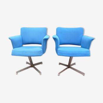 Paire de fauteuils design année 1970