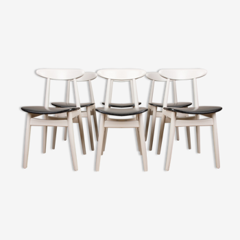 Série de 6 chaises de repas Thonet en bois thermoformé et skai noir 1960