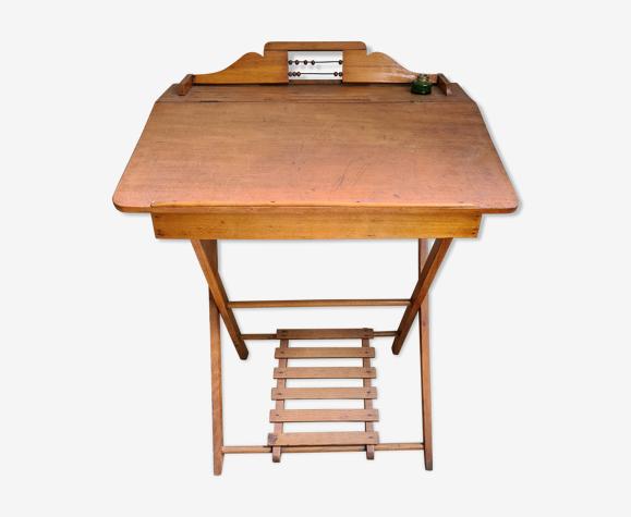 Ancien bureau enfant en bois avec pupitre vintage