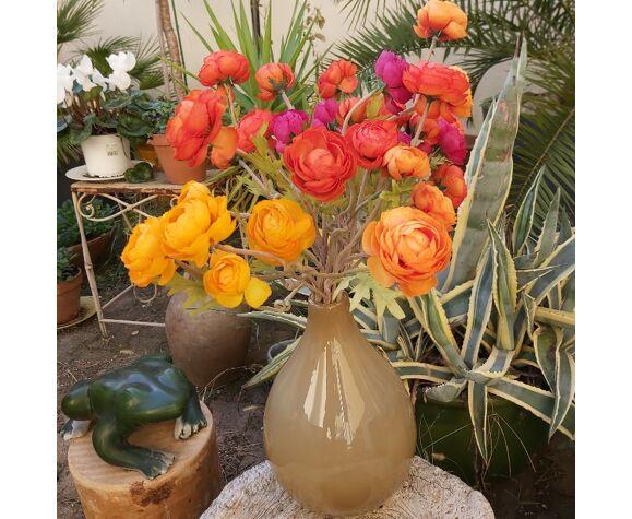 Vase Murano en verre marron crème vintage 30 cm
