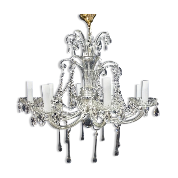 Lustre Murano en cristal XXème siècle
