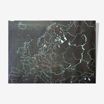 """Plaque d'ardoise mixte et naturelles en caoutchouc pour l'écriture à la craie """"l'europe"""" 1968"""
