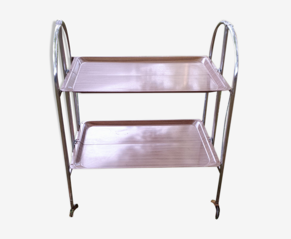 Folding two-tray rolling service table