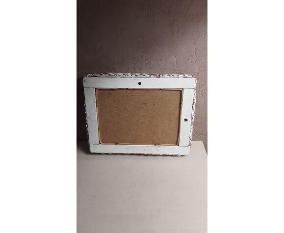Miroir rotin années 70 23 X 18 cm