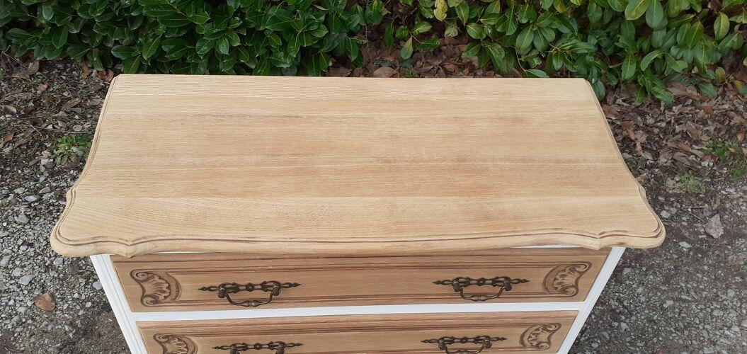 Commode 3 tiroirs style louis XV blanc et bois brut