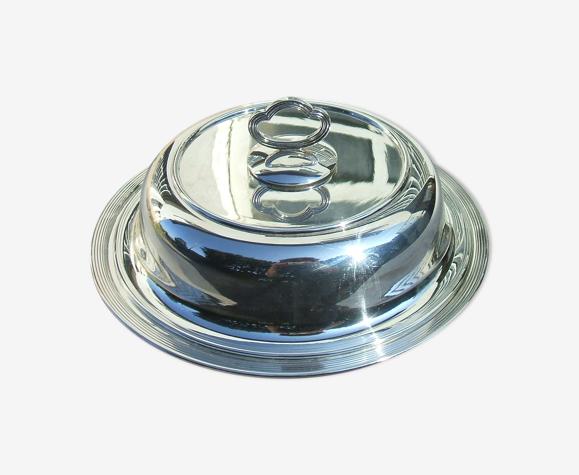 Legumier couvert metal argente