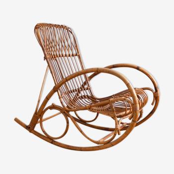 Rattan rattan rocking chair Rohe Noordwolde 50s / 60s