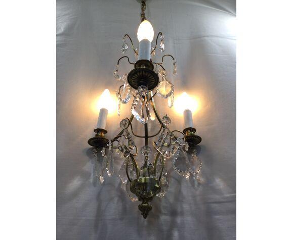 Lustre 3 lumières bronze et cristal