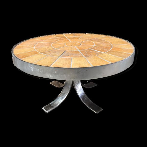 Table basse ronde céramique et acier brossé