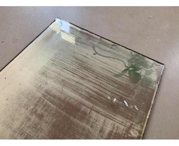 Miroir ancien patiné et biseauté 112x23cm
