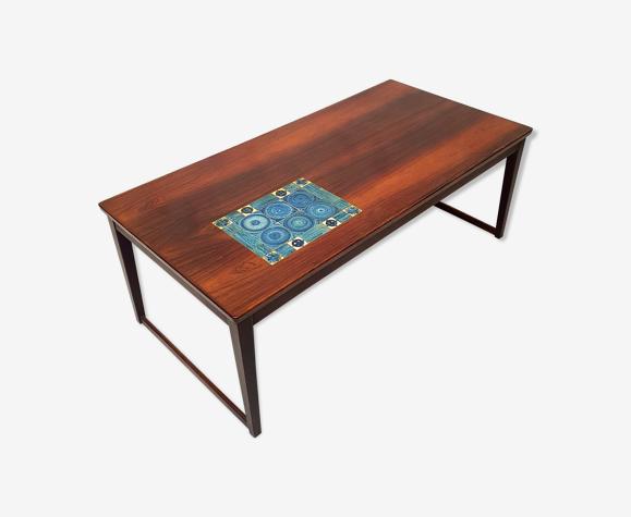Table basse de Svend Langkilde pour Langkilde Møbler - Palissandre & Céramique - Ca 1960
