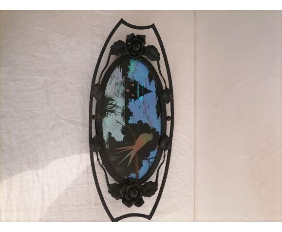 Plateau en fer forgé art déco décors ailes de papillons.