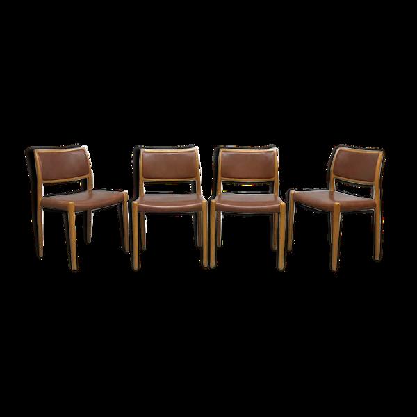 Ensemble de 4 chaises vintage modèle danois N80 par Niels O. Møller