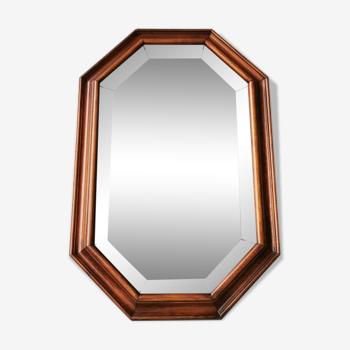 Miroir vintage en bois avec verre taillé 70s  80x40cm