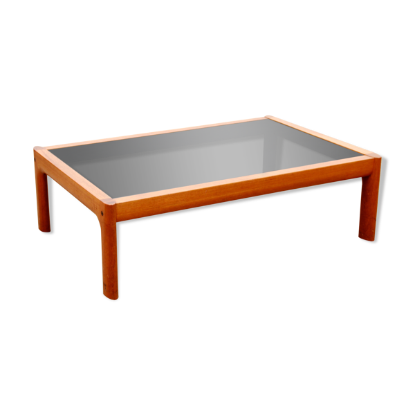 Selency Table basse scandinave  en teck et verre noir