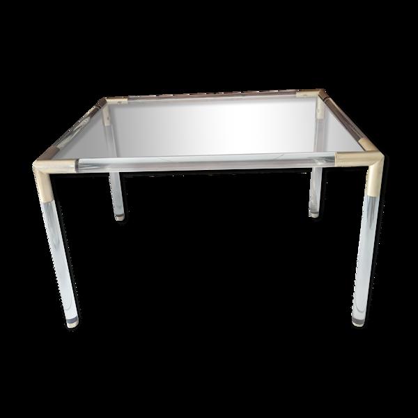 Table basse vintage en plexiglass, verre et métal doré 1970
