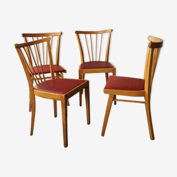 Set de 4 chaises bistrot à barreaux vintage