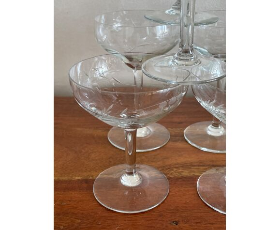 10 glass engraved glass champagne cup, 2 sizes