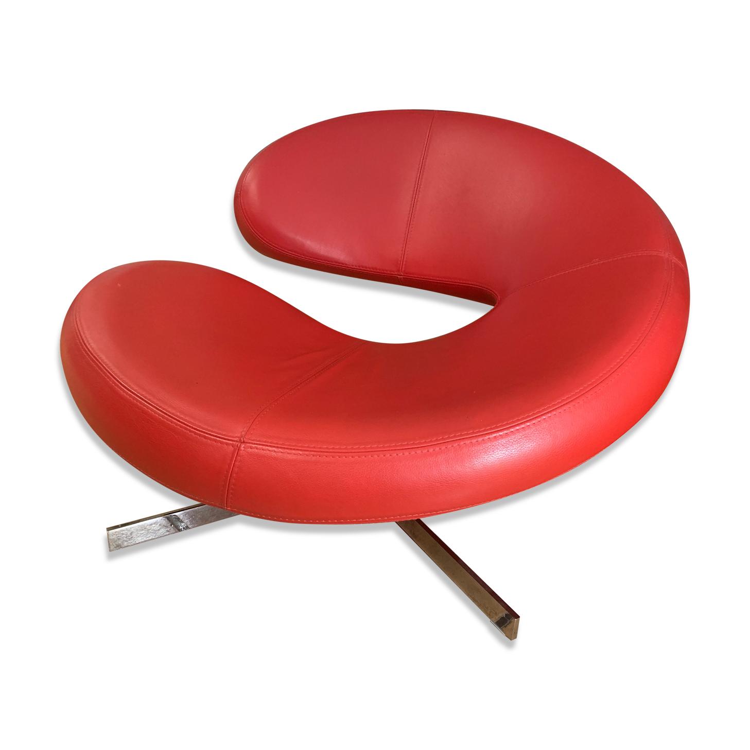 Fauteuil Roche Bobois en cuir rouge