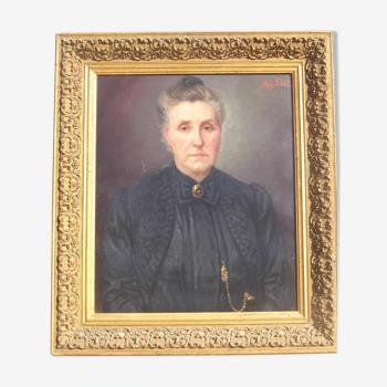 Tableau portrait femme notable huile sur toile 19 eme siècle signé regnault