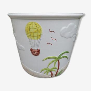 "Flower pot ""palm"" ceramic Bassano Italy 60 70 years"