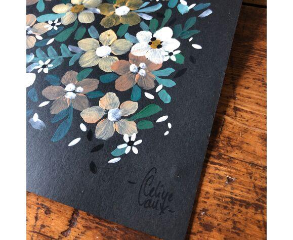 Peinture a4 fleurs jaunes et blanches
