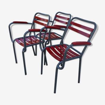 Lot de 3 chaises de jardin avec accoudoirs Xavier Pauchard pour Tolix