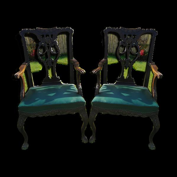 Paire de fauteuils ancien Anglais, chippendale, en acajou