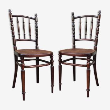 Paire de chaises cannées par Fischel