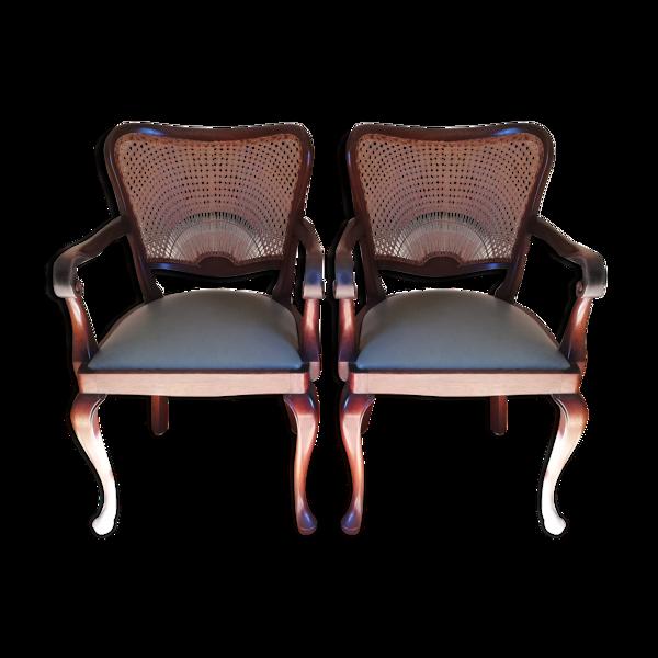 Paire de fauteuils en acajou cuir et cannage