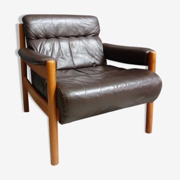 Fauteuil en cuir brun des années 1970