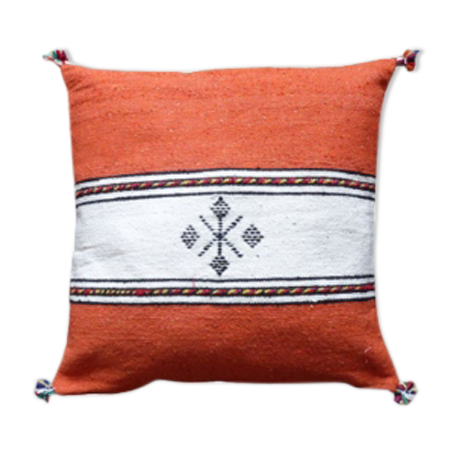 Coussin berbère marocain orange et blanc