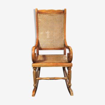 Rocking chair cannage vintage style restauration circa 1950
