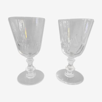 2 verres à pied soufflés en cristal